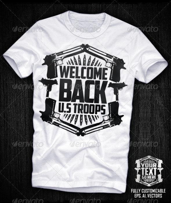 Guns Shield Vector T-shirt Design - Designs T-Shirts