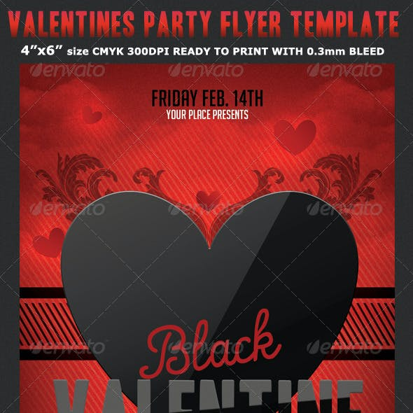Black Valentine Party Flyer Template