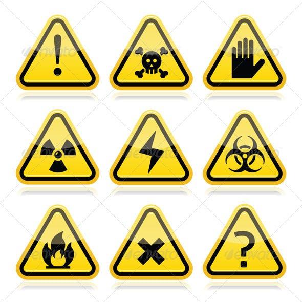 Danger Risk Warning Traingle Signs Set