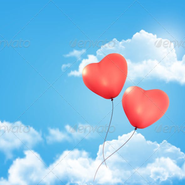 Valentine Heart-Shaped Balloon in a Blue Sky