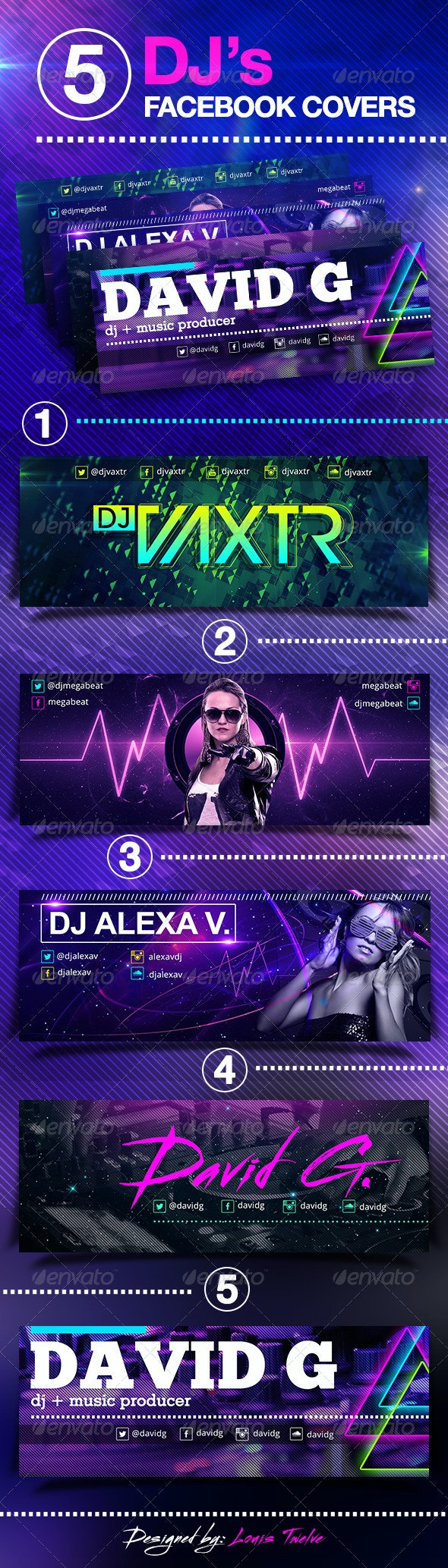 5 Dj's Facebook Covers  - Facebook Timeline Covers Social Media