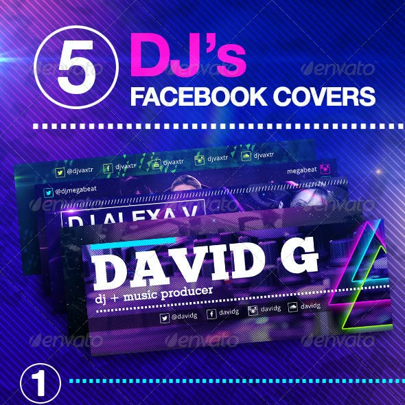 5 Dj's Facebook Covers