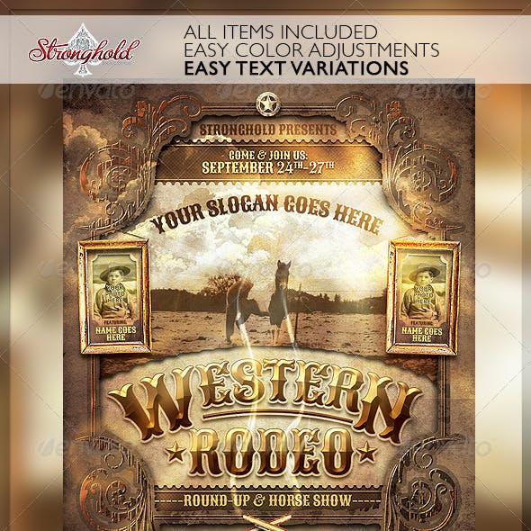 Wild West Rodeo Event Flyer Template