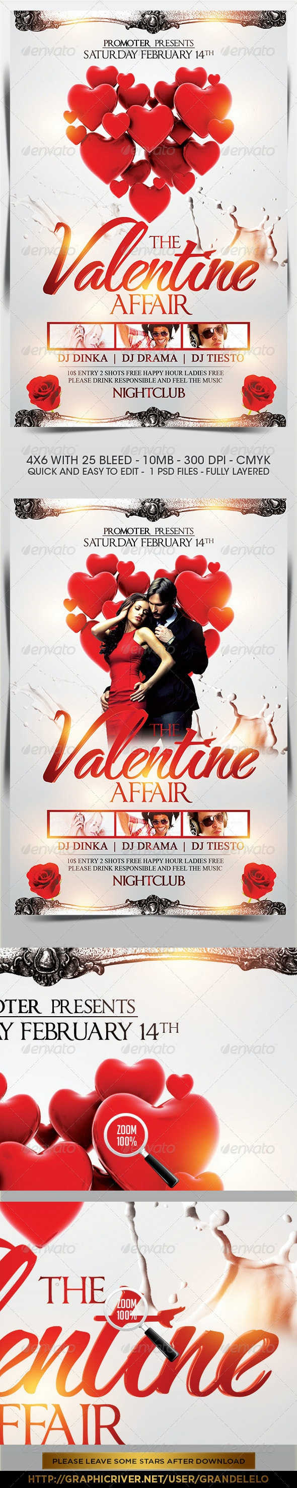 The Valentine Affair Party Flyer  - Clubs & Parties Events