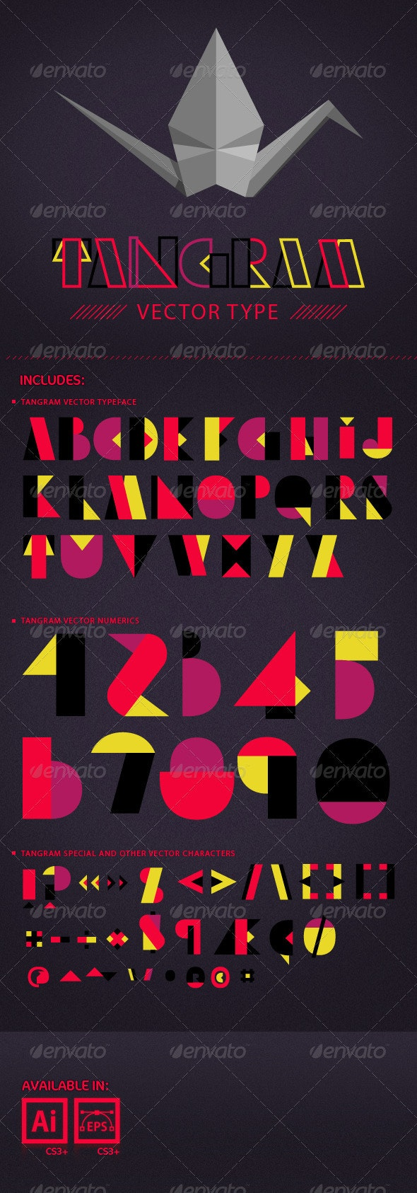 Tangram Vector Typeface. - Objects Vectors