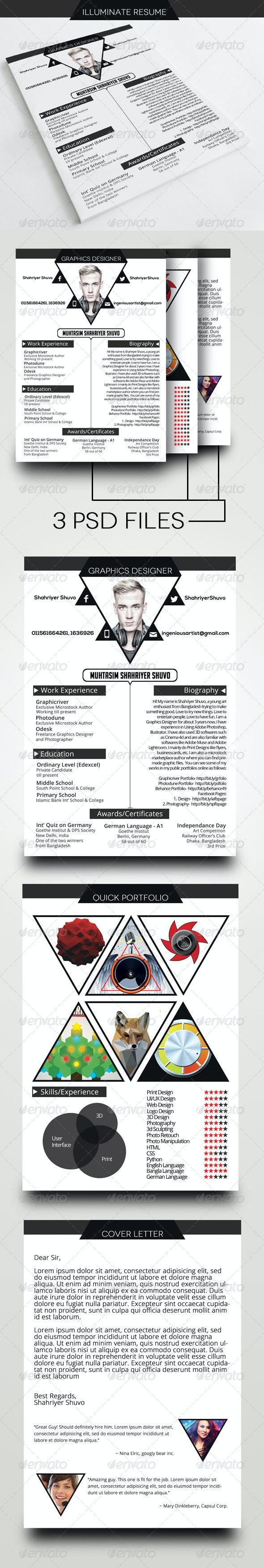 Illuminate Resume/CV Template - Resumes Stationery