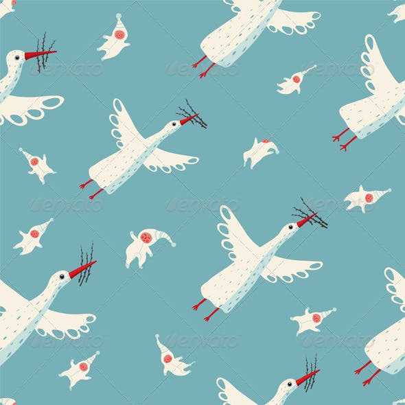Flying Storks and Children Seamless Pattern