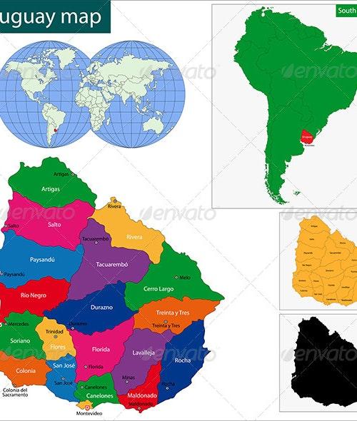 Uruguay Map By Volina
