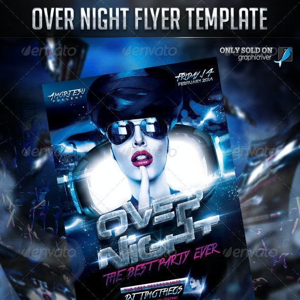 Over Night Flyer Template