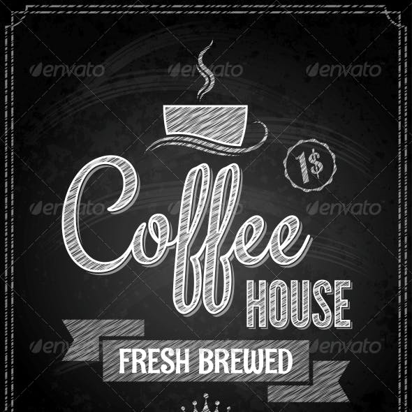 Coffee Menu Design Chalkboard Background