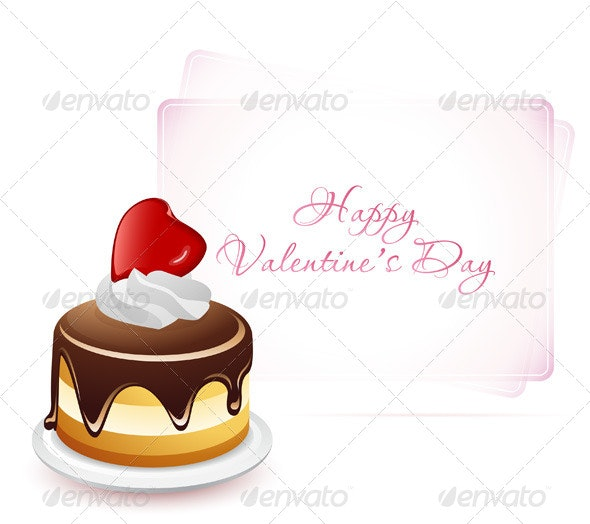 Happy Valentine's Day Card with Cake - Valentines Seasons/Holidays