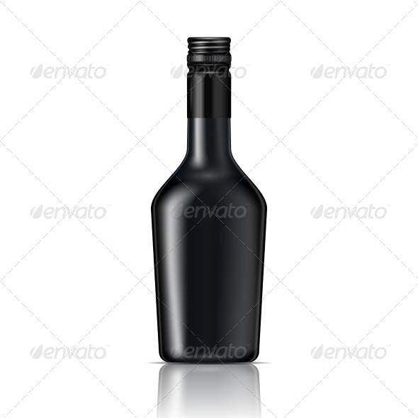 Black Glass Liqueur Bottle with Screw Cap