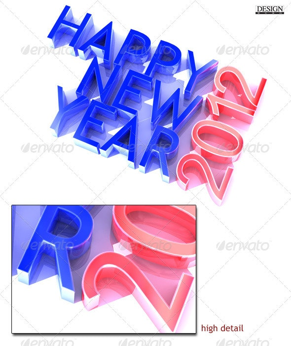 Happy New Year 2012 - 3D Backgrounds