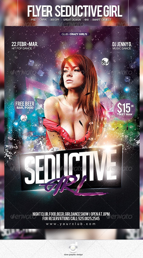Flyer Seductive Girl Party - Clubs & Parties Events
