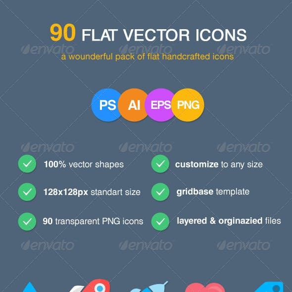 90 Flat Vector Icons