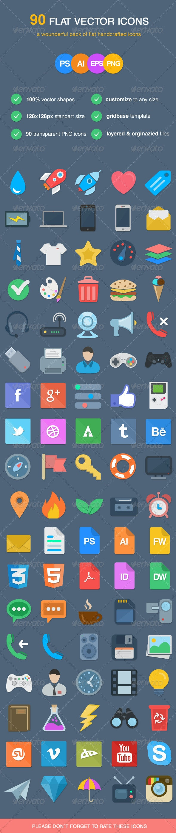 90 Flat Vector Icons - Web Icons