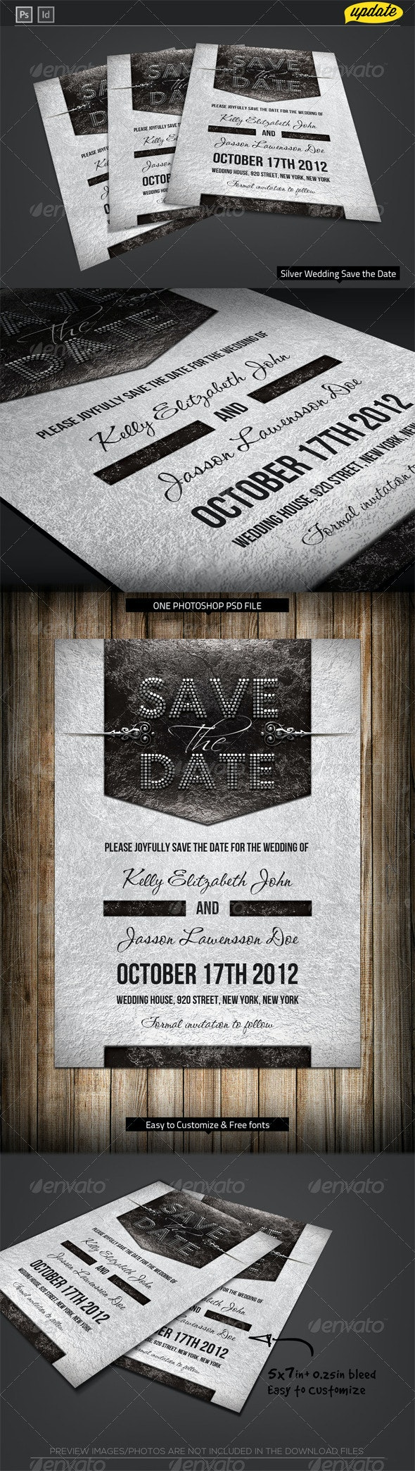 Silver Wedding Save the Date Template - Weddings Cards & Invites