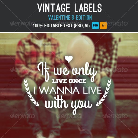 Vintage Labels Valentine and Wedding Love