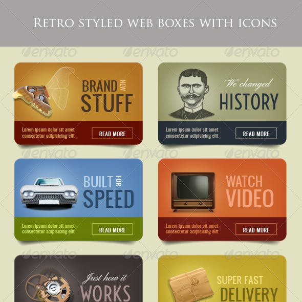 Retro Web Boxes with Icons