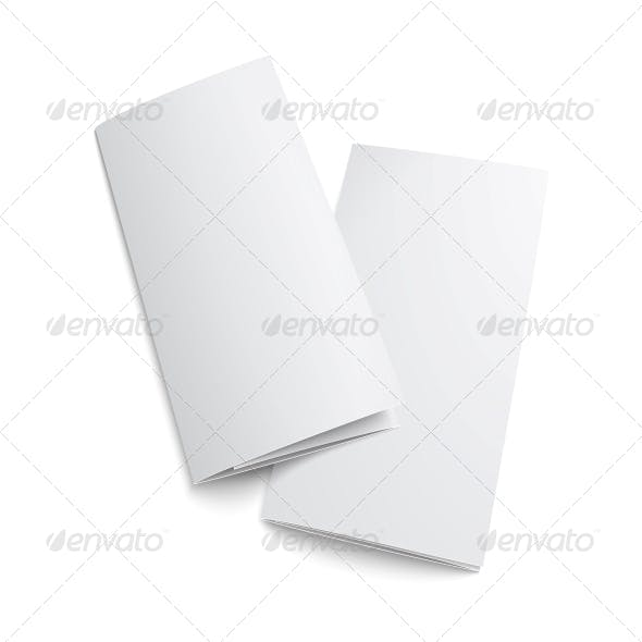 Couple of Blank Trifold Paper Brochure.