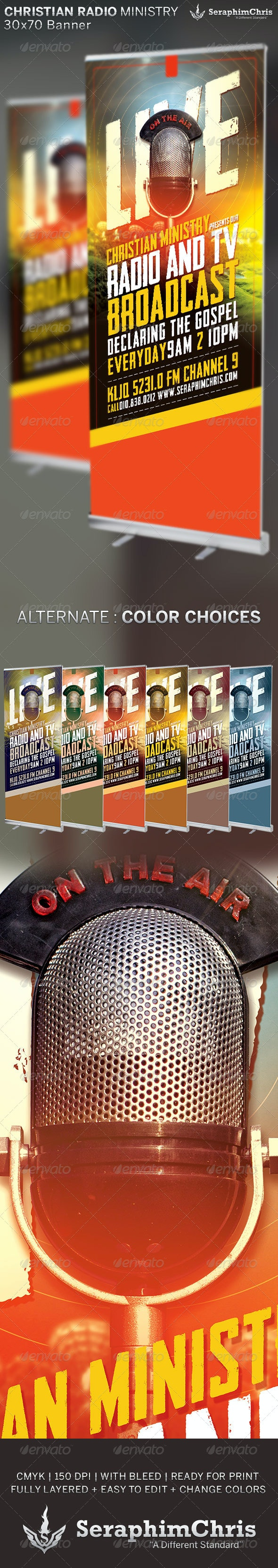 Christian Radio Ministry: Banner Template - Signage Print Templates