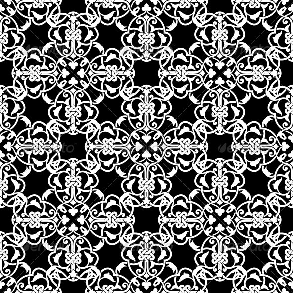 Seamless Black and White Pattern  - Backgrounds Decorative