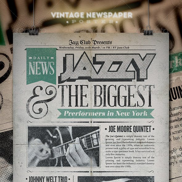 Jazz | Vintage Newspaper Poster