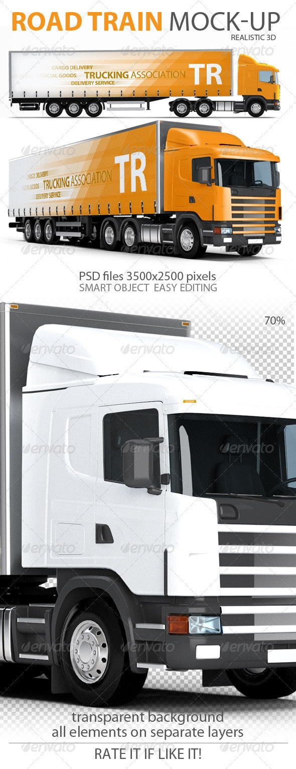 Trailer, Road train, large Truck mock-up - Vehicle Wraps Print