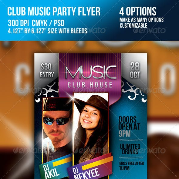 Club Music DJ Night Party Flyer