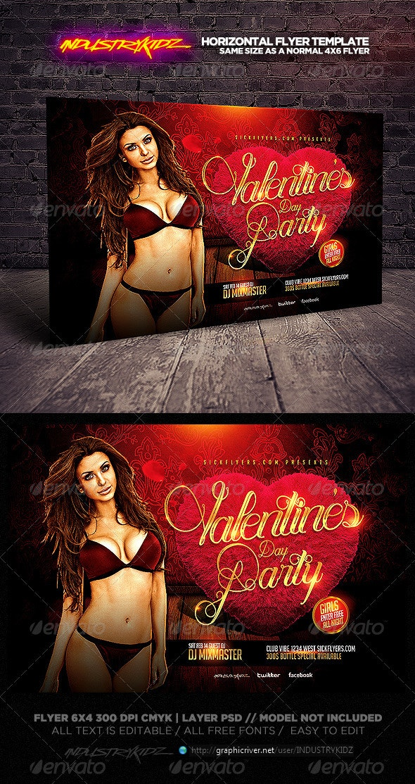 Valentines Party Horizontal Flyer Template - Holidays Events