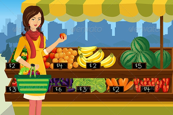 Woman Shopping in an Outdoor Farmers Market - People Characters