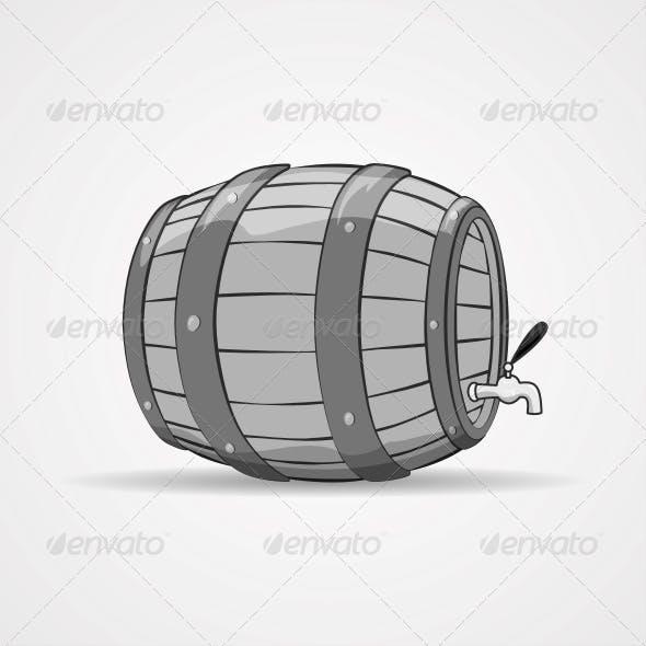 Old Wooden Barrel Filled with Natural Wine or Beer