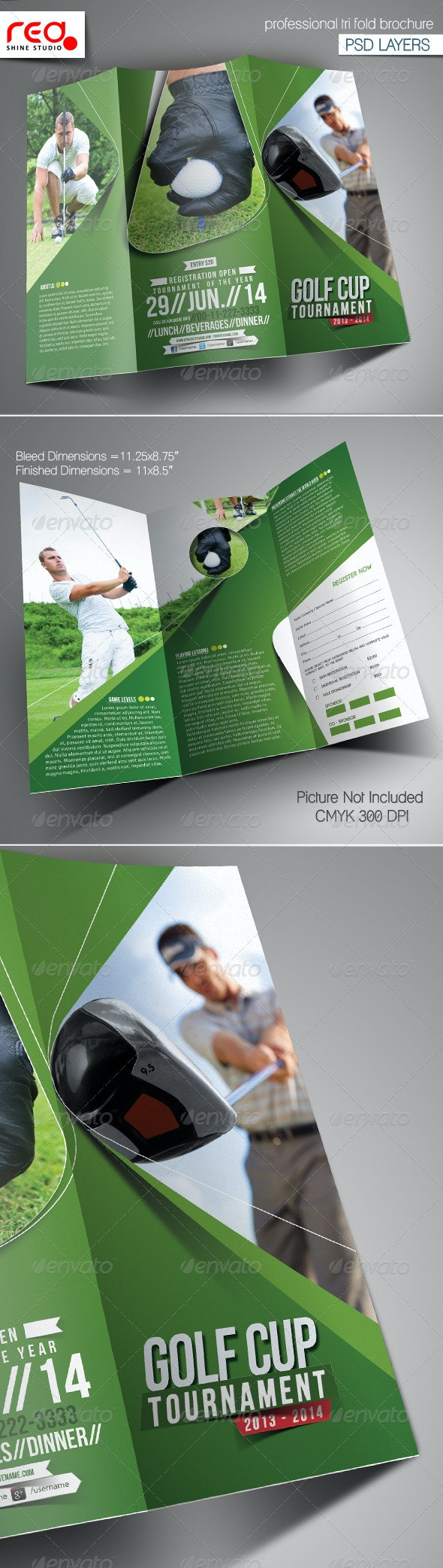 Golf Event Trifold Brochure Template - Corporate Brochures