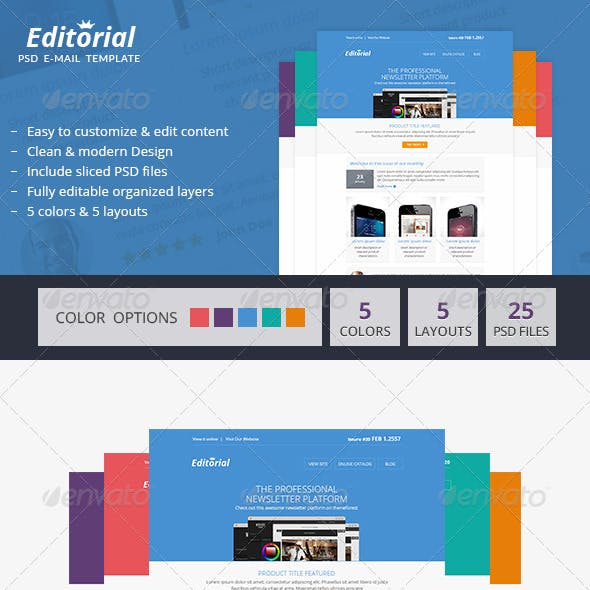 Editorial - Minimal PSD Email Newsletter Template