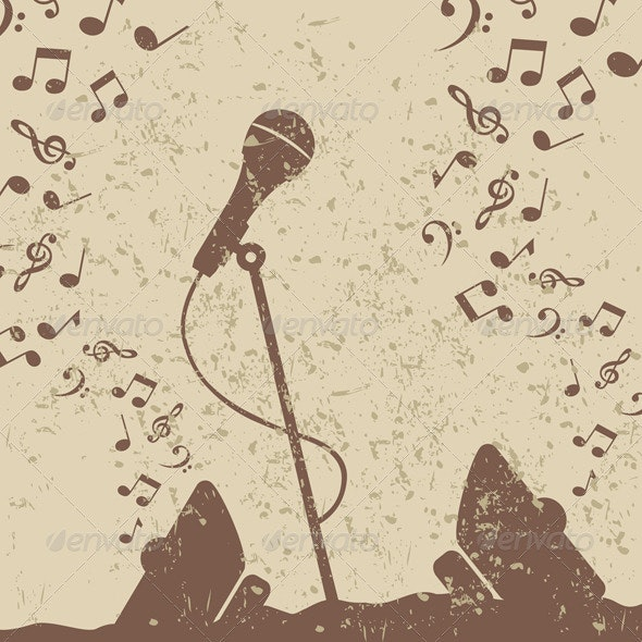 Retro a microphone2 - Miscellaneous Vectors