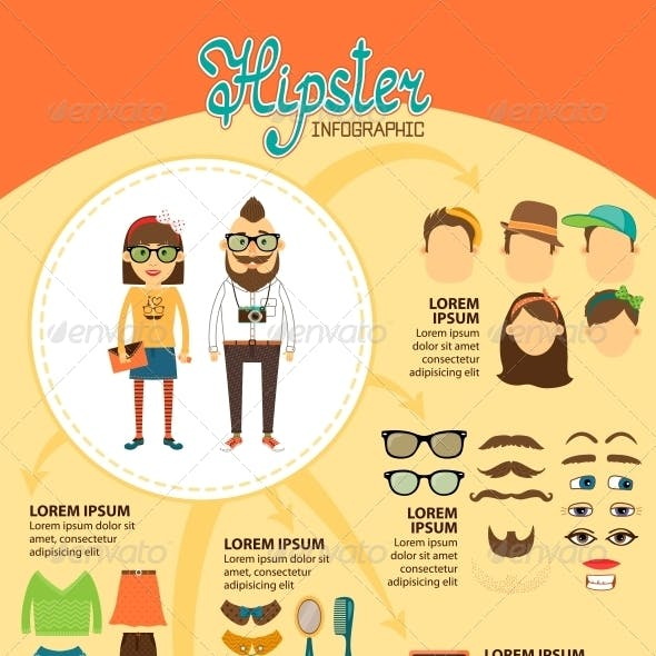 Hipster Infographics with Fashion Design Elements