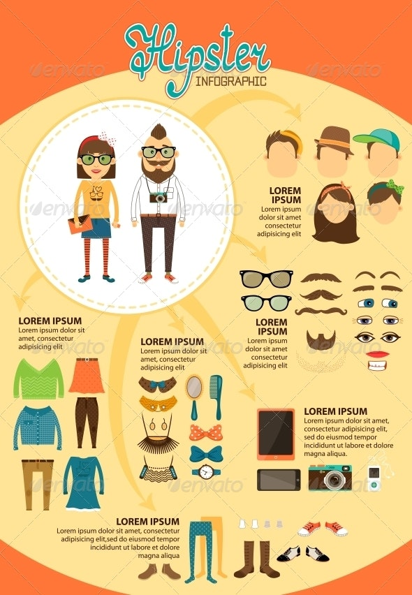Hipster Infographics With Fashion Design Elements By Macrovector Graphicriver