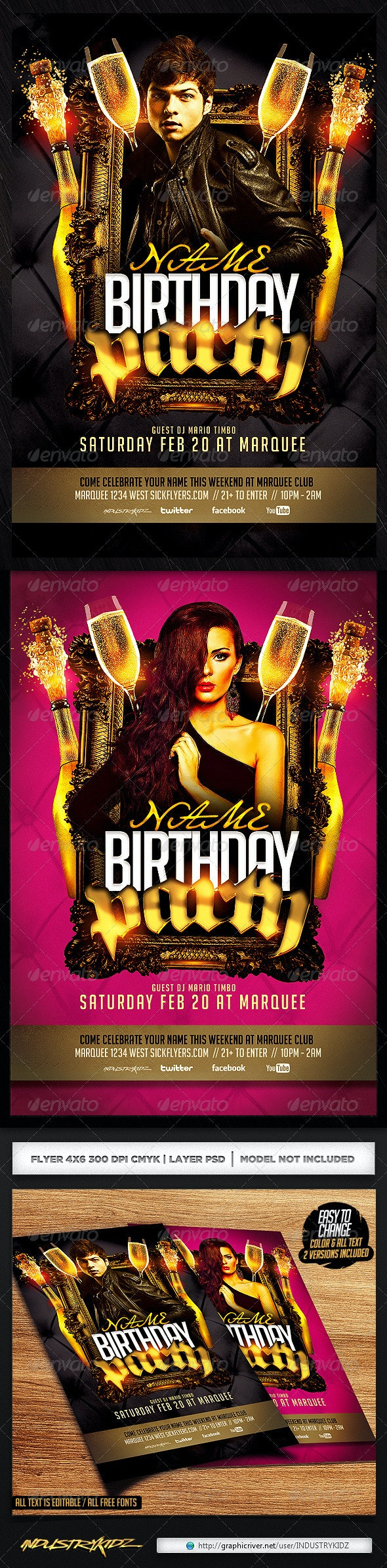 Birthday/Bachelor Party Flyer Template - Clubs & Parties Events