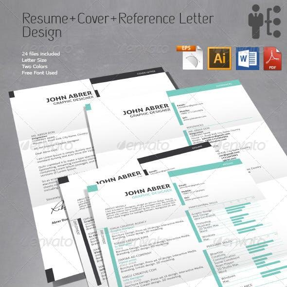 Resume+Cover Letter+References Design