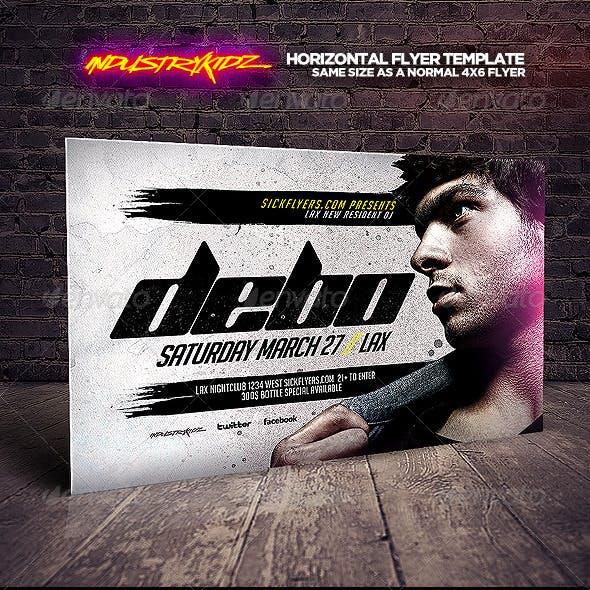 Electro House DJ Horizontal Flyer Template