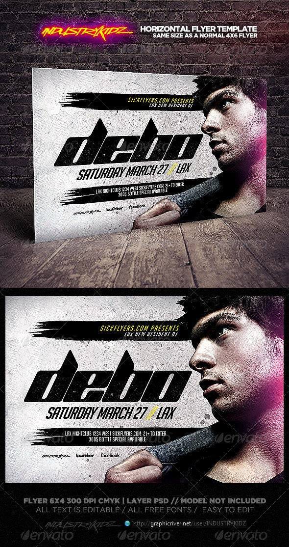 Electro House DJ Horizontal Flyer Template - Clubs & Parties Events