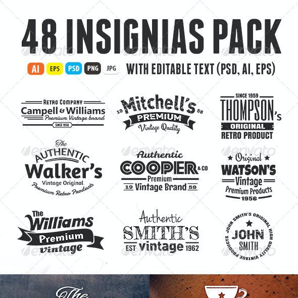 48 Insignias Or Labels Bundle
