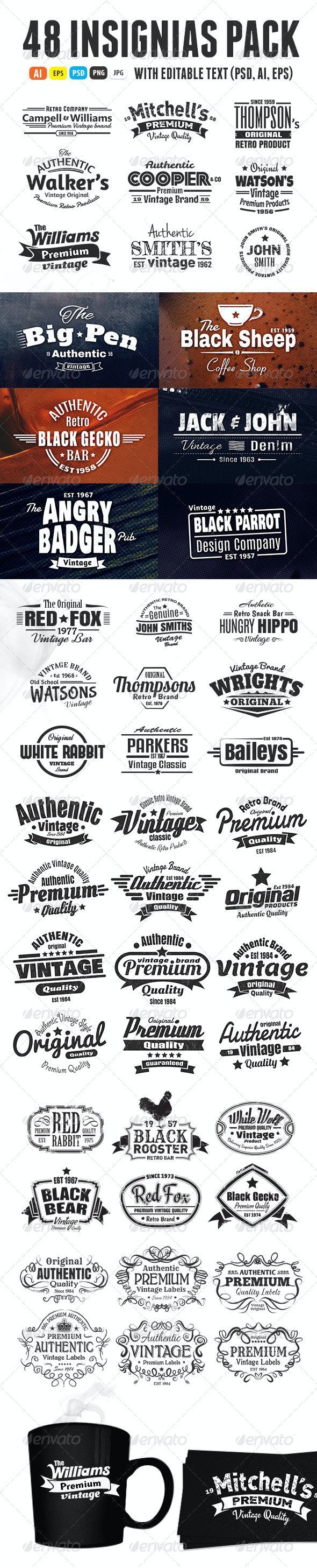 48 Insignias Or Labels Bundle - Badges & Stickers Web Elements