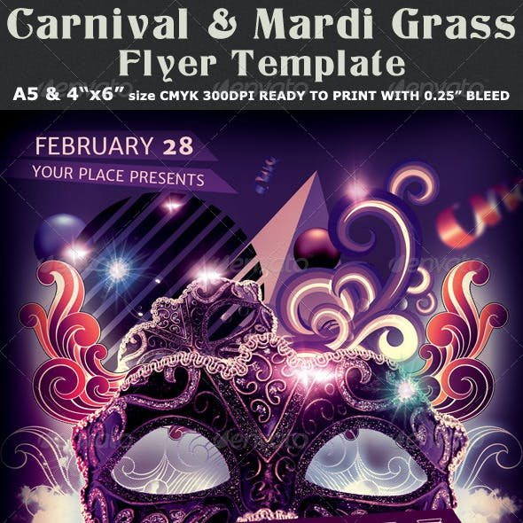 Carnival n Mardi Gras Party Flyer Template v2