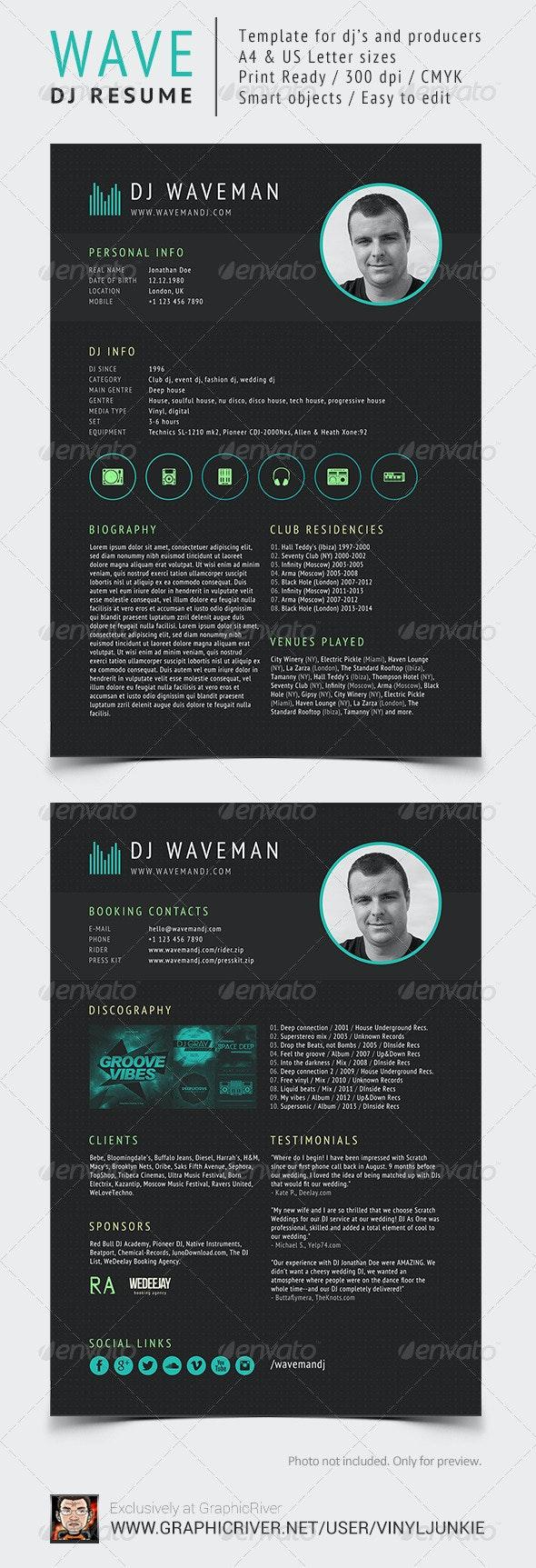 Wave - DJ Resume / Press Kit - Resumes Stationery