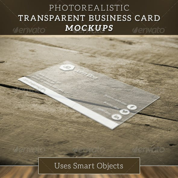 Transparent Business Card Mockup