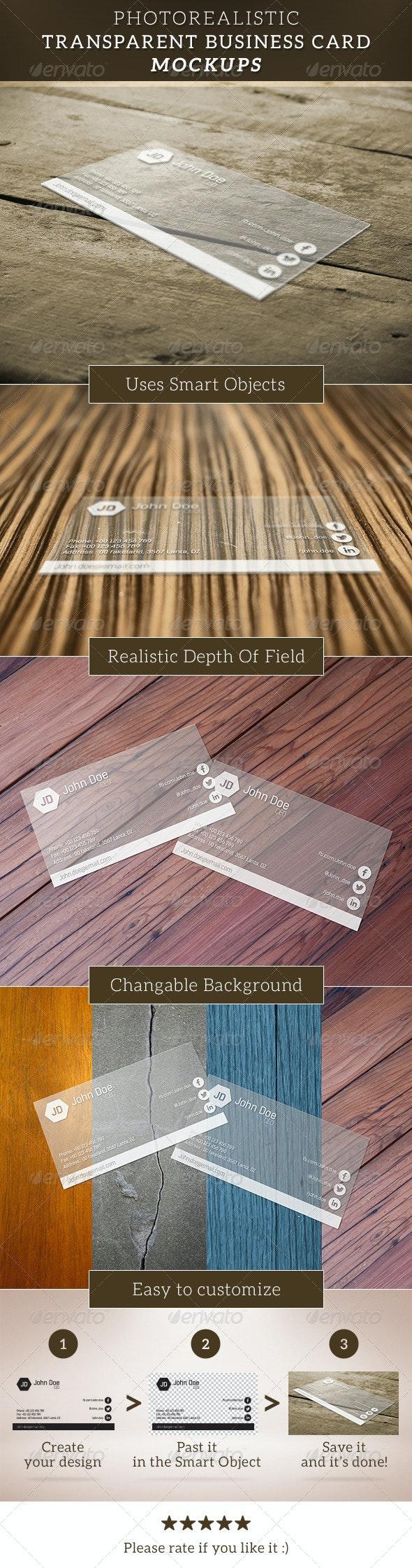 Transparent Business Card Mockup - Business Cards Print