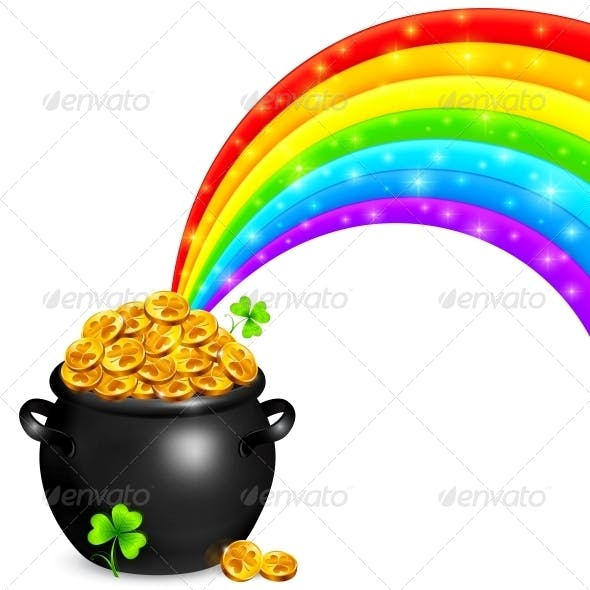 Pot of Gold with Magic Rainbow