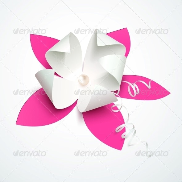 Pink Cutout Paper Flower With Pearl By Art_of_sun