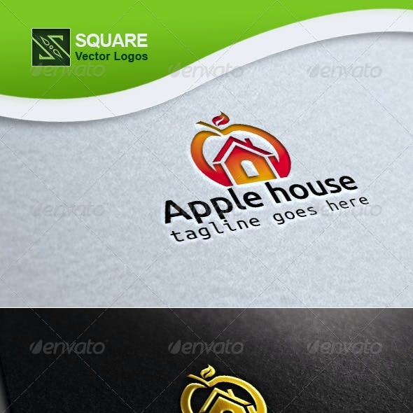 Apple, House Vector Logo Template